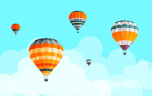 Air Balloons Collection At Blue Sky With Clouds Background, Fly Aerial Transport, Hot Air Balloon Icons Set, Striped Multicolored Aerial Transportation With Basket, Summer Trip, Travel Tour, Journey