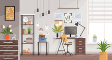 Workplace Modern Design In Living Room. Office, Studio, Cabinet Or Home Workspace Interior With Gray Wall, Desktop, PC Computer, Documets, Plants, Furnitures. Freelancer S Apartment Flat Illustration