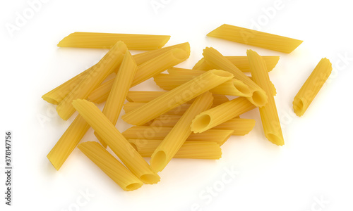 Fotografiet Pasta on white background 3d rendering