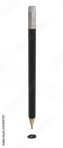 Black pencil isolated on white background 3d rendering Fototapet