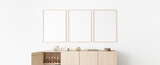 Poster frame mock up in child bedroom, Scandinavian unisex nursery design, 3d render