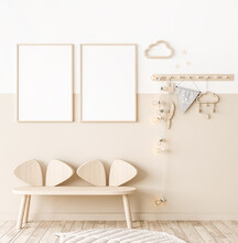 Mock Up Frame In Children Room With Natural Wooden Furniture, Two Vertical Frames On White And Beige Wall, 3D Render