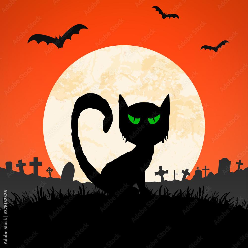 Fototapeta halloween spooky cat front of full moon