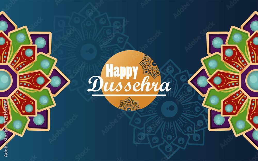 Fototapeta happy dussehra celebration card with mandalas in blue background