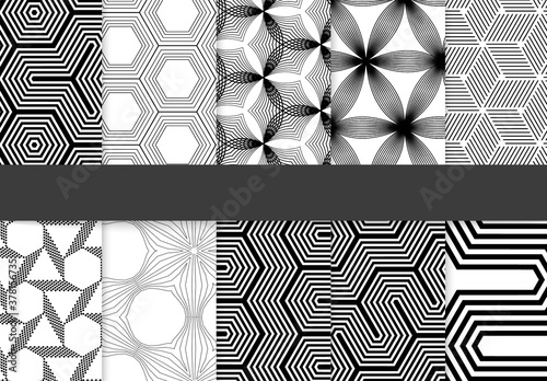 Seamless Pattern Collection with Simple Black and White Geometric Shapes