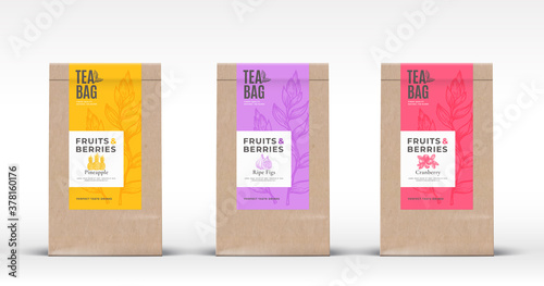 Canvastavla Craft Paper Bag with Fruit and Berries Tea Labels Set