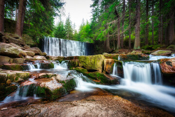Beautiful scenery of the Wild Waterfall on the Łomnica river, Karpacz. Poland