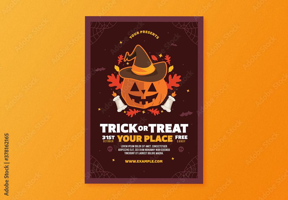 Fototapeta Halloween Trick or Treat Flyer Layout
