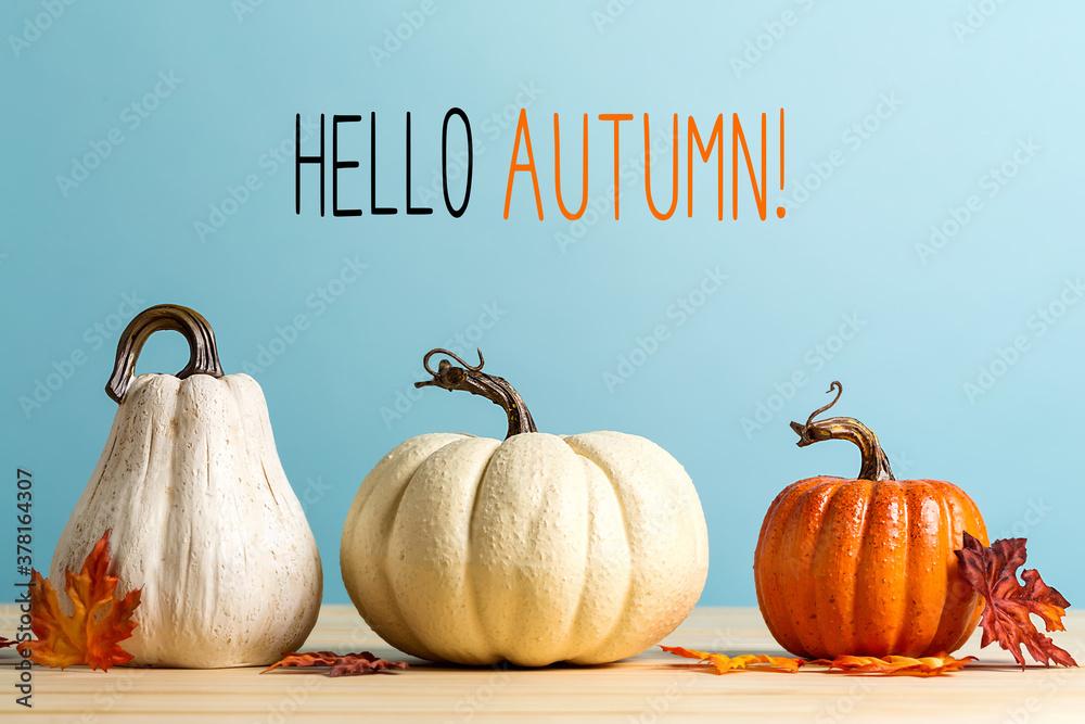 Leinwandbild Motiv - Tierney : Hello autumn message with pumpkins on a blue background