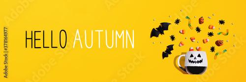 Hello autumn message with Halloween ghost mug - flat lay Wallpaper Mural
