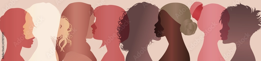Fototapeta Communication group of multiethnic diversity women and girls face silhouette profile. Female social network community of diverse culture. Talk and share information. Friendship. Speak