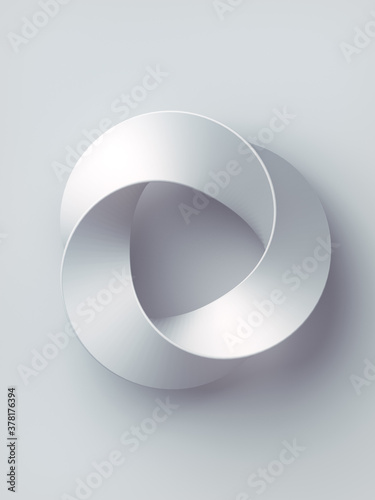 Mobius strip ring sacred geometry. 3d rendering cover design on white background. Abstract digital illustration