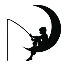 Vector Image Of A Crescent Moon With A Fishing Boy