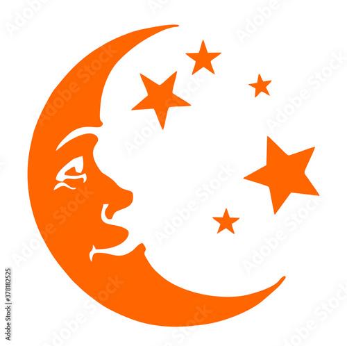 Fotografia, Obraz Vector icon of Crescent moon with face and stars