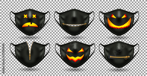 Fototapeta A set of protective comic black masks. For the coronavirus party, Halloween and other fun. 3D realistic illustration. Isolated on transparent background. Vector. obraz