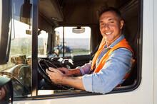 Smiling Truck Driver In Cap
