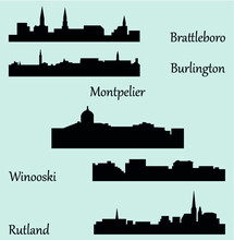 Set Of 5 City Silhouette In Vermont ( Montpelier, Burlington, Brattleboro, Winooski, Rutland )