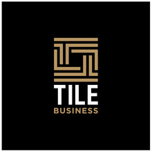 Initial Letter T Tile With Square Line Pattern Border Frame Logo Design
