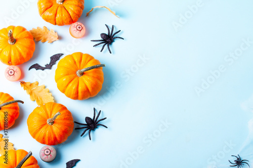Halloween flat lay background - 378186965