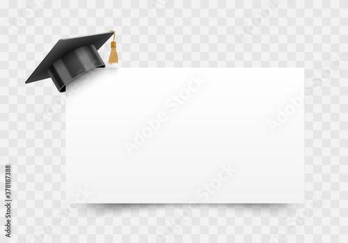 Carta da parati Graduation cap on white paper board corner, education design element, vector ill