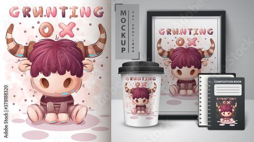 Fototapeta Grunting ox - poster and merchandising. obraz