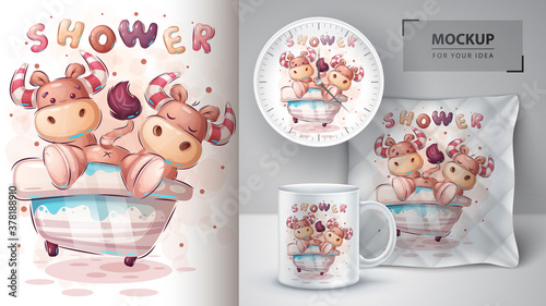 Fototapeta Crazy cow on the bathroom - poster and merchandising. obraz