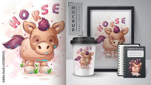 Fototapeta Big horse - poster and merchandising. obraz