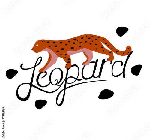 Yellow leopard with black spots on white background with lettering Wallpaper Mural