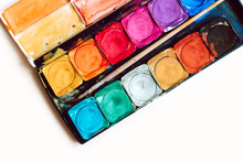 Watercolor Palette On A Simple White Background