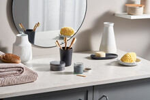 Zero Waste Toiletries And Decorations In Bathroom