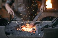 Crop Blacksmith Heating Metal ...