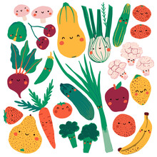 Flat Collection Of Cute Food: Butternut Squash, Leek, Cucumbers, Mushrooms, Beets, Sweet Pea, Zucchini, Banana, Orange, Apple, Strawberry, Brocoli, Pear, Tomato, Lemon, Cauliflower, Onion, Cherry.