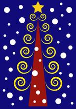 Árbol De Navidad Con Ramas En Espiral Doradas Y Copos De Nieve Sobre Fondo Azul Marino