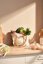 Zero Waste Bags With Groceries On Kitchen Counter