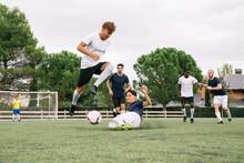 Soccer Player Avoids Incoming ...