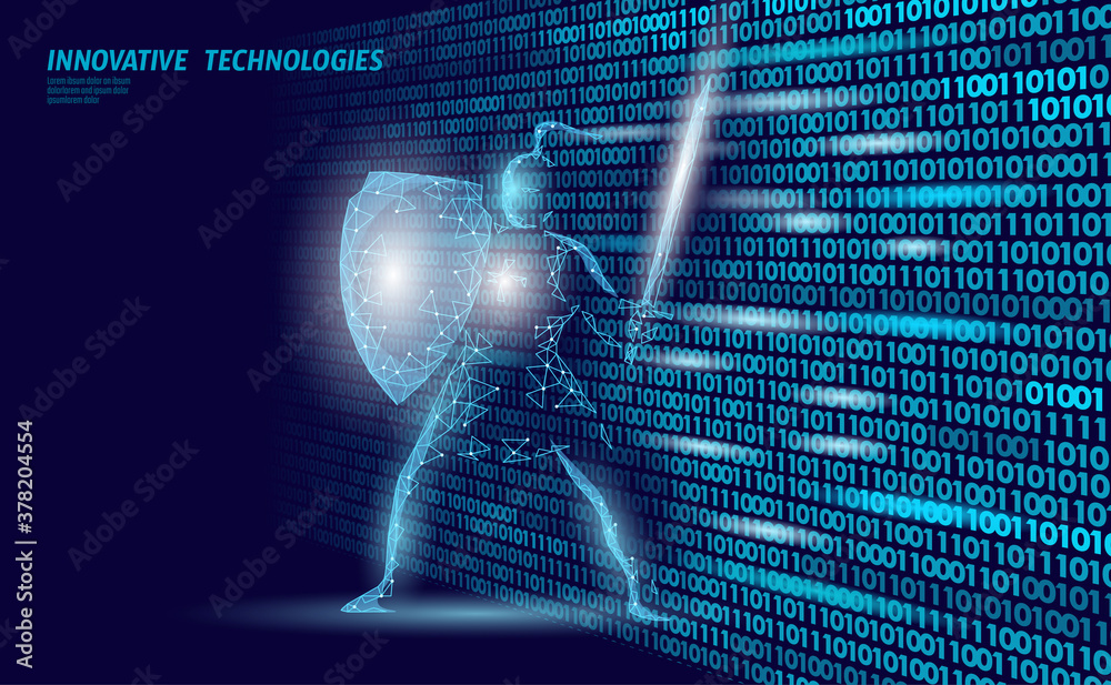 Fototapeta Cyber safety khight on data mass. Internet security lock information privacy low poly polygonal future innovation technology network business concept blue vector illustration
