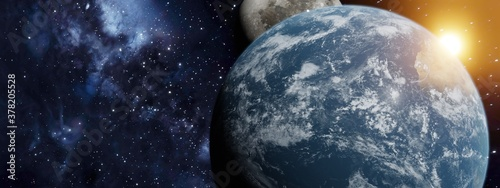Obraz na plátně 3d Rendering of Earth with moon gazing over the top and sunlight