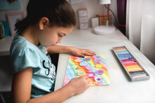 Child Drawing A Field Of Flowers With Chalk Pastel