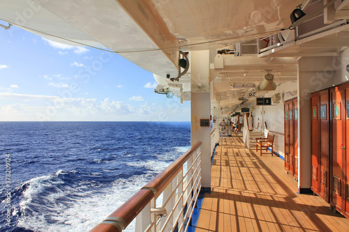 Obraz Cruise ship open deck sea view. - fototapety do salonu