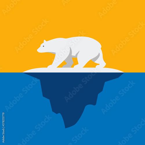 Obraz na plátně Polar Bear On Iceberg Vector Illustration