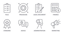 Vector Guideline Icons. Editable Stroke. Procedure Standard Administration Rules. Legal Document Finance Marketing Advice. Simple Elements For Infographics, Websites