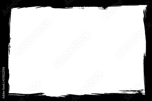 Fototapeta Grunge frame vector, grunge border damage frame background.Grungy stroke texture abstract old black ink on white template, vector illustration  obraz