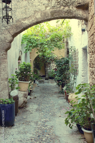 Fototapety, obrazy: The ancient streets of the ancient city in Greece. Authentic alleys of Rhodes.