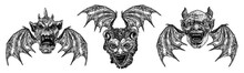Set Of Devil Heads With Big Demon Horns Or Antlers And Sharp Fangs. Satan Or Lucifer Fallen Angels Depiction With Vampire Wings. Gargoyle Like Chimera Fantastic Beast Creature With Scary Face Vector.
