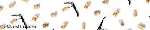 Fotografie, Tablou wine corks background on a white backlit background