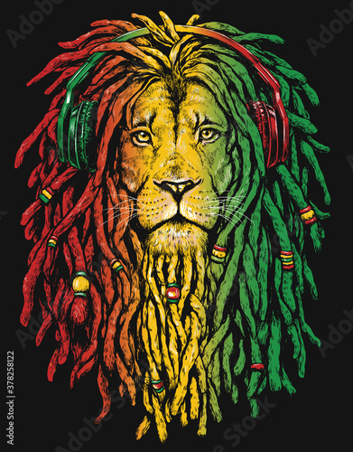 Pen and inked Rastafarian Lion digital illustration on black background Canvas