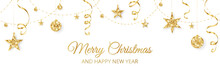 Christmas Banner With Golden Glitter Decoration. Holiday Border, Frame Isolated On White. Festive Vector Background. Garland With Stars, Beads And Streamers.