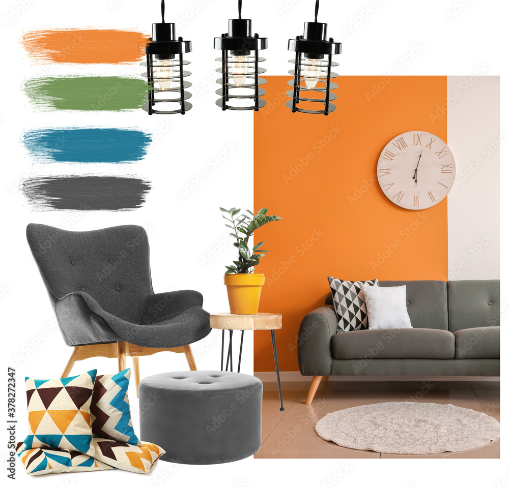Fototapeta Elements of modern living room on white background. Different color patterns