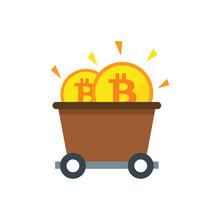 Bitcoin Mine Cart Icon