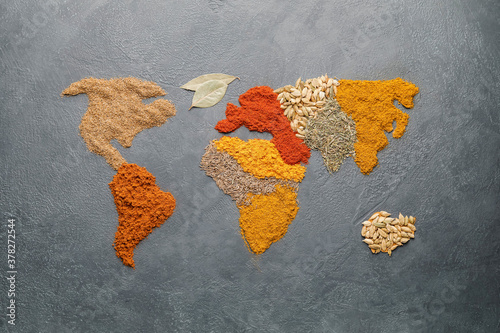 World map made of different spices on grey background Fototapet